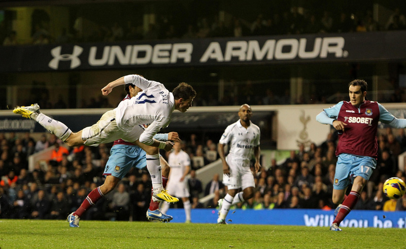 TWO-UP: Bale heads home Spurs' second goal