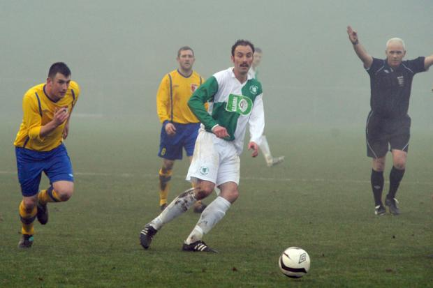 FOGGED OFF: Billingham Synthonia's Andrew Jennings looks for an opening during his side's game with Sunderland RCA, but the game was abanoned due to fog