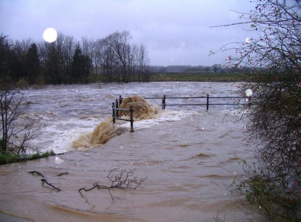 The Northern Echo: FULL FLOW: Flooding at Broken Scar, Darlington, taken at 3.30pm by reader Clive Rickaby