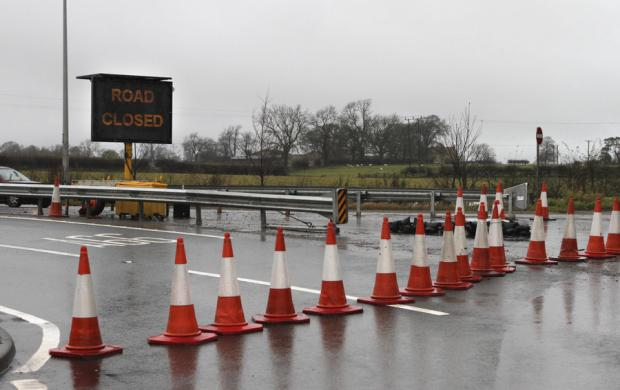The Northern Echo: BLOCKED OFF: The A66 west bound, at Scotch Corner, is closed to traffic