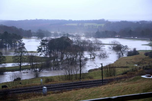 The Northern Echo: OVERFLOWING: A watery landscape looking east from Brandon to Croxdale showing how the River Brownie has burst it banks