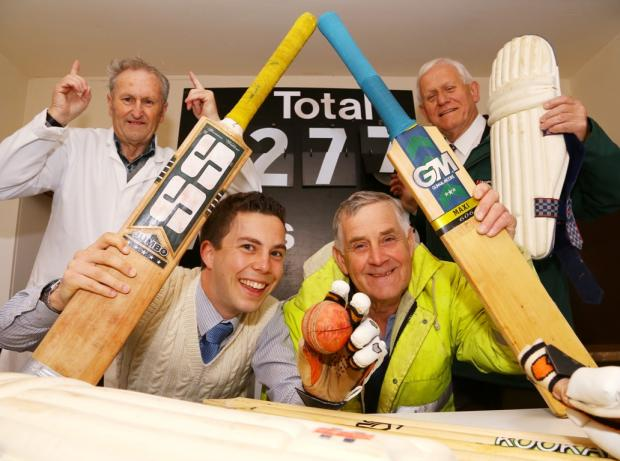 BOWLED OVER: From left, Lands CC president Arnold Marley, Barry Grimes of Banks Renewables, Lands CC chairman Carroll Simpson and county councillor Stephen Hugill celebrate the £9,600 boost to club funds.