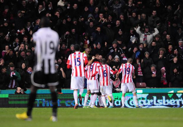 LATE AGONY: Stoke City celebrate their winning goal scored by Cameron Jerome