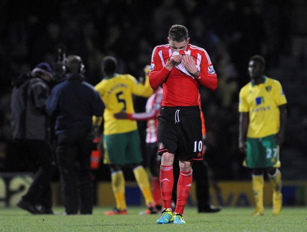 MOMENT OF DESPAIR: Sunderland's Connor Wickham shows his disappointment at the final whistle against Norwich