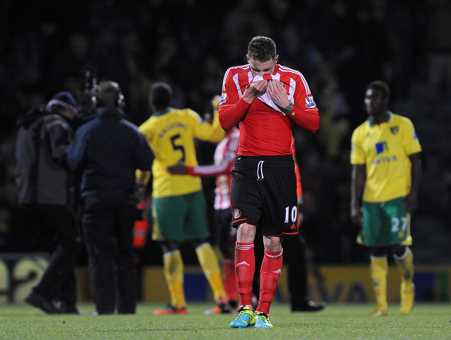 SO CLOSE: Sunderland striker Connor Wickham contemplates defeat at Carrow Road on Sunday night
