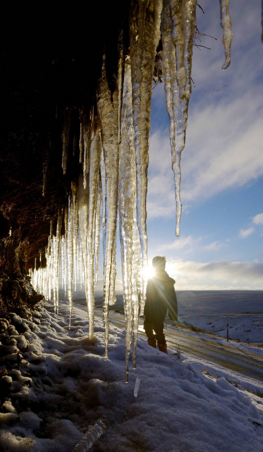 FROSTY OUTLOOK: Huge icicles hang down during freezing conditions in Teesdale, County Durham