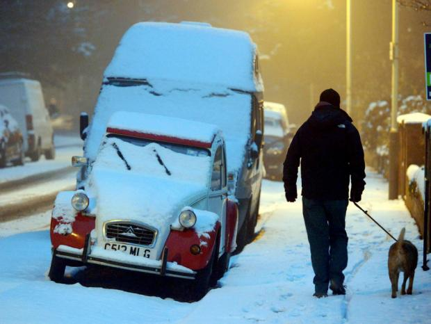 The Northern Echo: A man walks his dog in the snow yesterday morning