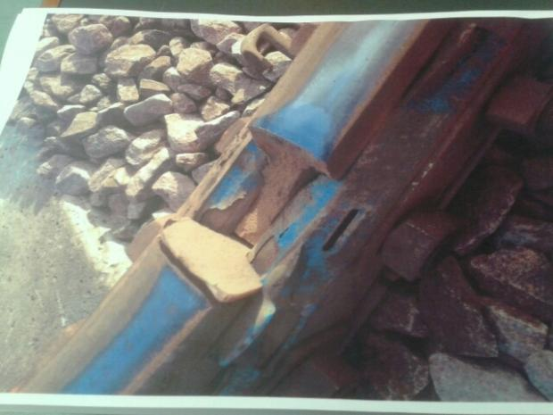 SAFETY CONCERN: An image provided by the RMT rail union of the five-inch gap in railtrack south of York