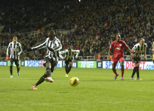 1-0: Ba puts Newcastle ahead with a 13th minute penalty last night at St James