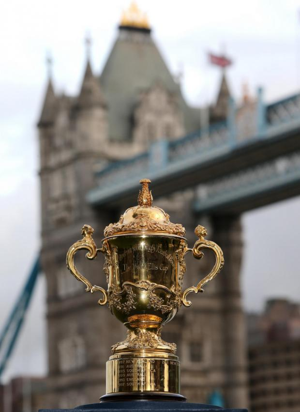PRIZE: The Webb Ellis Cup sits in front of Tower Bridge during a photocall to launch the Rugby World Cup pool draw, which took place at the Tate Modern