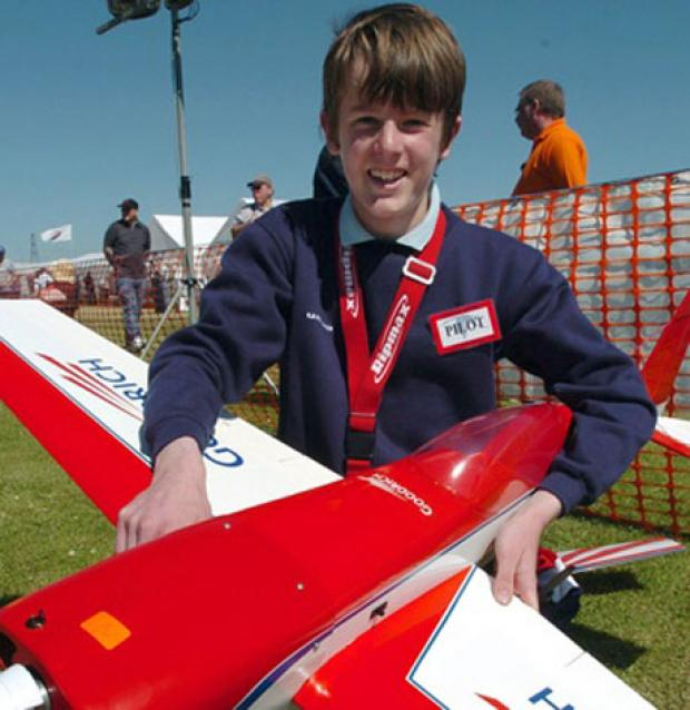 ACCIDENTAL DEATH: Adam Cumbor, pictured as a young model flying enthusiast
