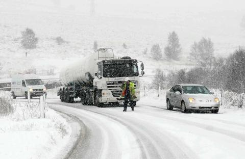 Stranded motorists on the A169 high up on the North York Moors near Goathland, North Yorkshire