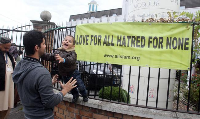 PEACEFUL PROTEST: Muslims congregate in September in Morden, London, to denounce the anti-Islamic film Innocence of Islam. The community also denounced the violent reaction to the film