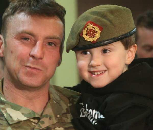 Lance Corporal David Cassidy reunited with son Tyler, three at Catterick