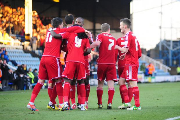 The Northern Echo: TEAM HUG: Faris Haroun celebrates scoring his side's second goal with his Boro team-mates