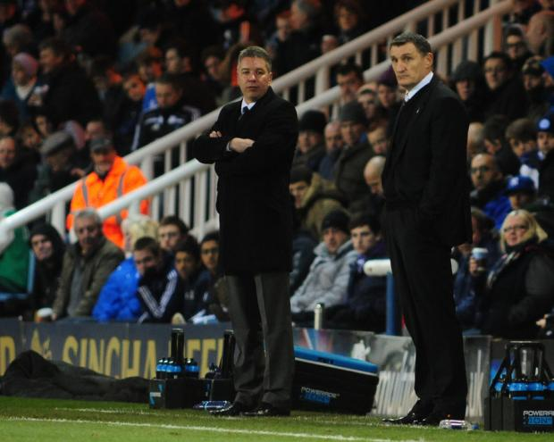 TOUCHLINE TENSIONS: Peterborough boss Darren Ferguson, left, and Boro's Tony Mowbray