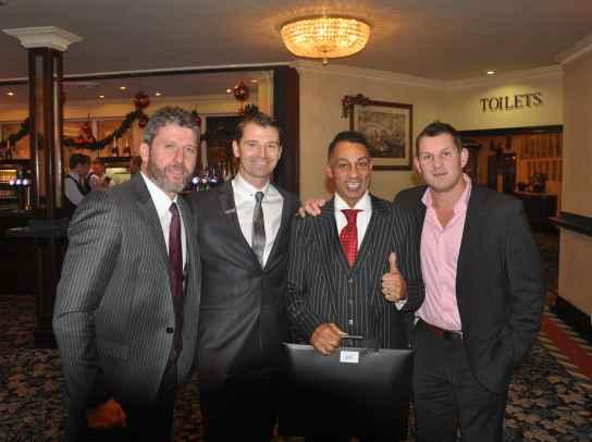 Colin Cooper (second right) with the guest speakers at the Hardwick Hall fundraiser (from left) Andy Townsend, Charlie Hale and Dean Windass.