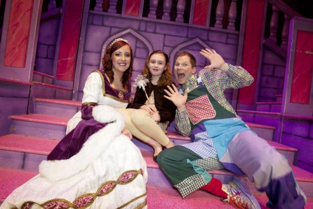 ON STAGE: Beth Shaw with Princess Aurora, played by Christina Cuttell, and Silly Billy, played by Paul Hartley