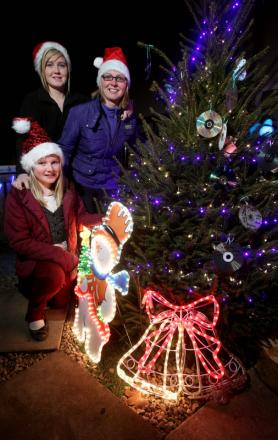 GOOD TO SHARE: Lynn Docherty and daughters Steph, 17, and Abbie, right, who have placed their Christmas tree in their garden for people to remember loved ones and help raise money for Macmillan Cancer Support