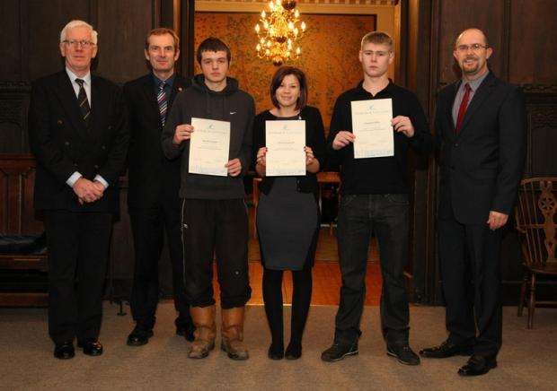 STUDY SUPPORT: From left, trustees Malcolm Quayle and Steve McArdle with apprentices Mark Hunter, Chloe Hauxwell and Daniel Bilton, and college deputy principal and chief executive Tony Lewin
