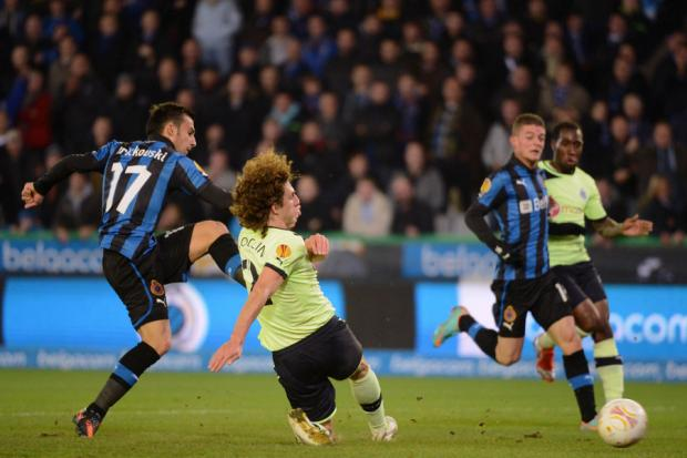 EUROPEAN NIGHTS: Fabricio Coloccini puts in a tackle during Newcastle United's game against Club Brugge at St James' Park earlier this season