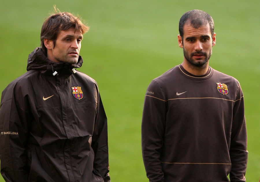 OLD FRIENDS: Tito Vilanova with old Barcelona coach Pep Guardiola