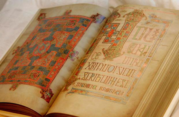 A copy of the Lindisfarne Gospels on display during an event at Durham Castle this year