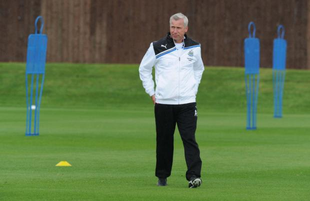 Newcastle United manager Alan Pardew during a training session at Longbenton Training Ground, Newcastle
