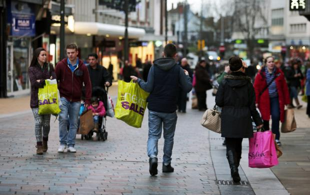 Shoppers in Darlington look for bargains over the festive period