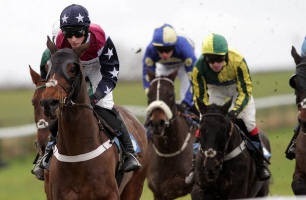 ON TIME: Billy Cuckoo leads the pack in the 1.15 Compare Bookmakers With bookmakers.co.uk Handicap Steeplechase at Sedgefield yesterday