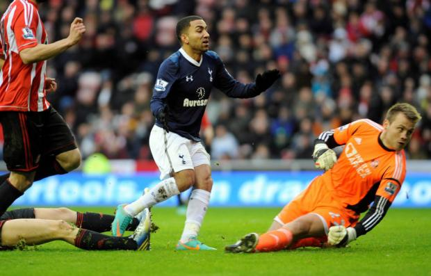 FAST FORWARD: Simon Mignolet is unable to stop Aaron Lennon from scoring