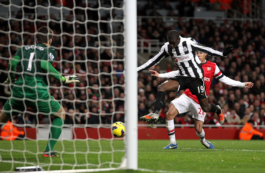 ON THE MOVE? Demba Ba scores during Saturday's defeat at Arsenal