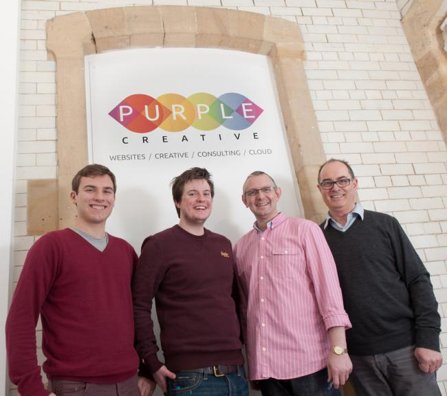 MORE WORK: From left, Wil Jones, Andrew Birks, Allan Guy and Phil Upton at Purple Creative Studio's new offices