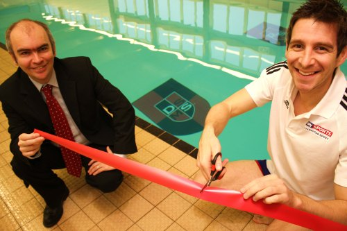 SWIM TIME: Olympic and Commonwealth Games swimmer Chris Cook opens the newly refurbished pool at Darlington School of Mathematics and Science with head