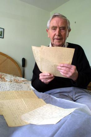 Con Shiels pictured in 2006, with his father's letters from the Jarrow March