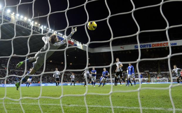 PICK THAT OUT: Leighton Baines rifles in a first-half free-kick to equalise against Newcastle last night
