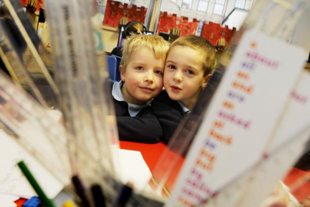 AT SCHOOL: Ted Graham, six, and Jack Danby, seven