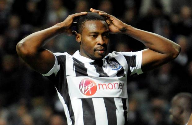 BIG BOOTS TO FILL: Shola Ameobi replaced Demba Ba last night at St James' Park. He is pictured after Everton's Victor Anichebe put the visitors in front during the Magpies' 2-1 defeat