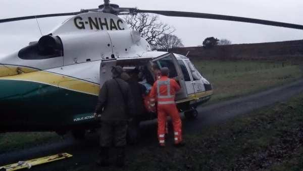 The Great North Air Ambulance at the scene this afternoon