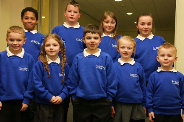 The Rydal Academy pupils and their new uniforms L-R,  front row, Dylon Jenkinson, seven, Nevaeh Duffy, four, Alfie Leach, six, Lily-May Metcalfe, five, and Braith Taylor, back, Jair Leconte, Jack Raine, Demmi-Lea Purdie and Reenie Smith, all aged ten