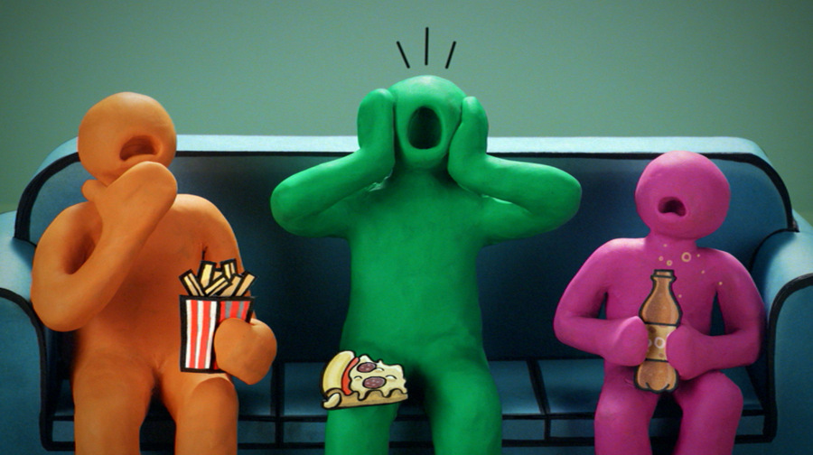 FOOD HORRORS: A still from the new TV advert showing the clay family being confronted over the unhealthy diet