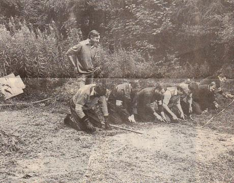 SITE SEARCH: Police carrying out a search at the spot where the woman's body was discovered on August 28, 1981, it was believed to have been in undergrowth for about a year, hidden in a tall patch of vegetation, near the top of Sutton Bank