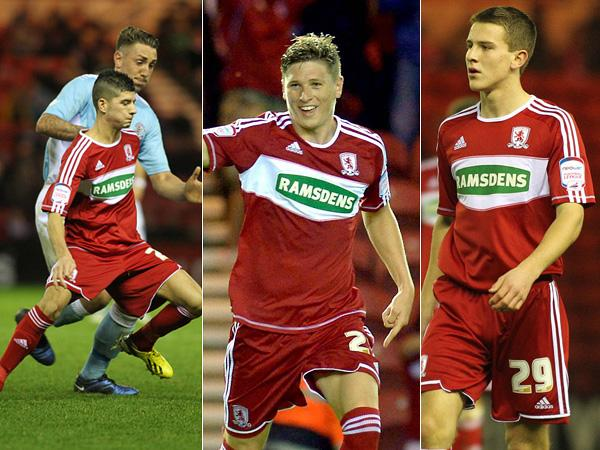 BRIGHT YOUNG THINGS: On Saturday, Boro handed first-team debuts to Jordan Jones, left, and Bryn Morris, right. The teenagers joined Adam Reach, centre, in a young squad featuring eight academy graduates