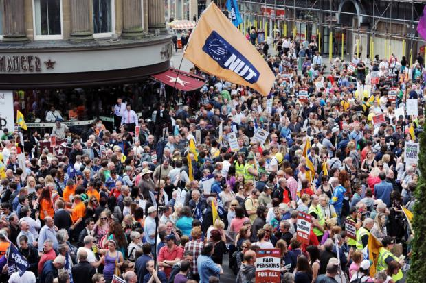 FIGHTING BACK: Protestors march through Newcastle last year as part of a one day national strike against pension changes and funding cuts to the public sector