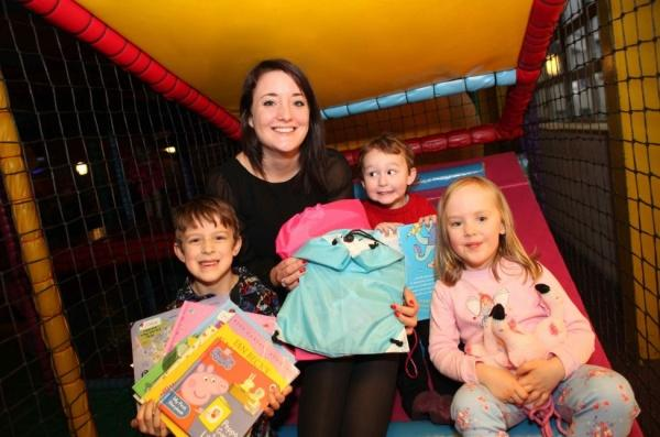 L-R Luke Bailey, Amy Garett, Alex Bailey and Clara Phillips launch the Pyjama Project