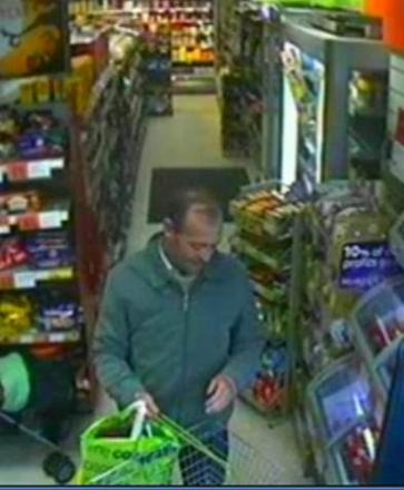 The suspected meat thief seen on CCTV