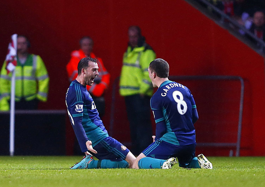 FEELING AT HOME: Steven Fletcher, celebrating with team-mate Craig Gardner after scoring at Southampton last month, says playing in the North-East feels like home
