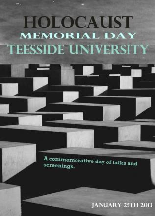 Poster advertising Holocaust Memorial Day event at Teesside University