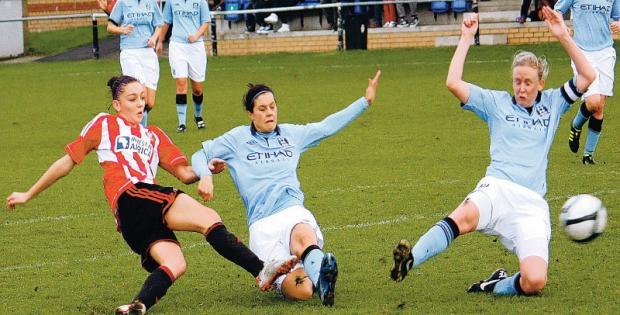 EVASIVE ACTION: Sunderland's Keira Ramsahw shoots against City