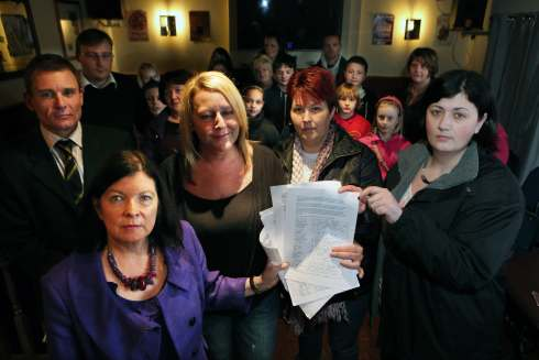 MP Roberta Blackman-Woods receives the school transport petition from Angela Swainston, Diane Murray and Michelle Bainbridge at the Lambton Arms in  Sherburn Village.